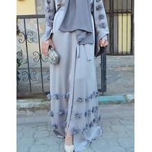 Elegant Adult Muslim Abaya Arab Turkish Singapore Aardigan Appliques Jilbab Dubai Clothing Women Islamic Dress Robe Large Size