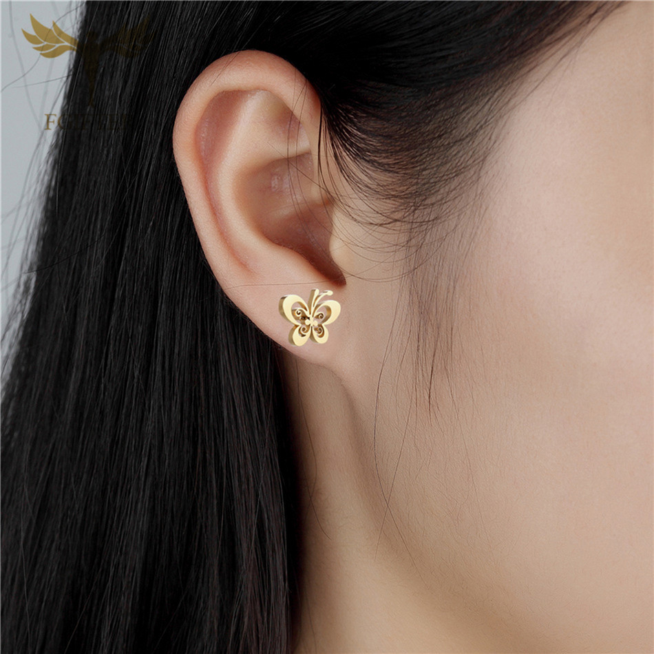 Fgifter Gold Butterfly Stud Earrings Necklace Jewelry Sets For Girls Children Stainless Steel Jewelry Kids Gifts Wholesale #4