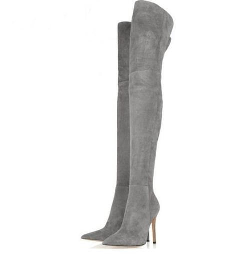 2018 Hot Women Winter Over Knee Long Boots Big Size 11 Thin High Heels Autumn Comfort Stretch Height Boots Shoes Woman