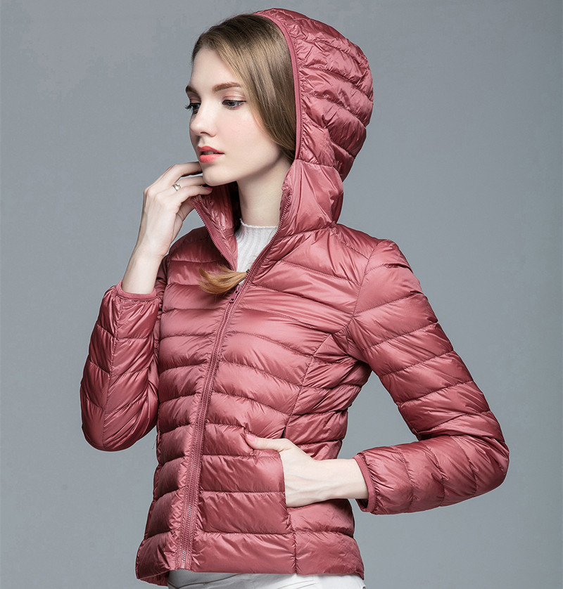 Down   Parka Brand New Designer Women 90% White Duck   Down   Ultralight Jacket Winter Outwear Hooded Thin   Coat