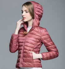 Down Parka Brand New Designer Women 90% White Duck Down Ultralight Jacket Winter Outwear Hooded Thin Coat