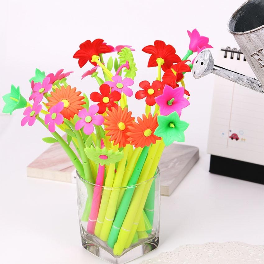 0.38MM Cute Plastic Gel Pens Lovely Plant Flowers Signing Pen For Kids Writing Pen Gift Korean Stationery
