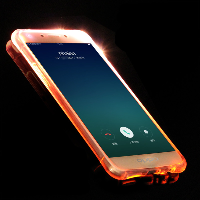 newest 657b7 44041 US $3.19 |For OPPO R9 Incoming Call LED Light Flash TPU Mobile Phone Back  Case Anti shock Flashing Cover For OPPO R11 R7S R7 Plus R9 PLUS-in Fitted  ...
