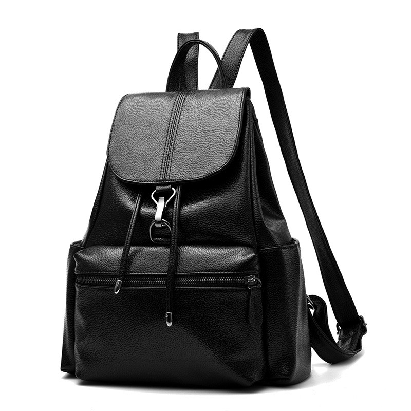 2017 Summer New Bags for Female Concise Leisure Fashion Occident Style Ladies Backpacks Solid Color Black