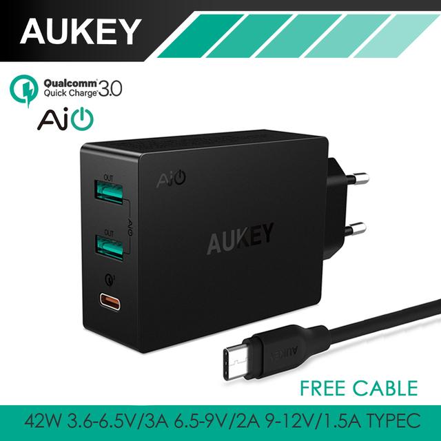 AUKEY C de Carga Rápida USB 3.0 & AiPower 3-Port Usb Rápido cargador de pared para iphone 7 samsung lg g5, htc 10, nexus 6 p & más inteligente teléfono