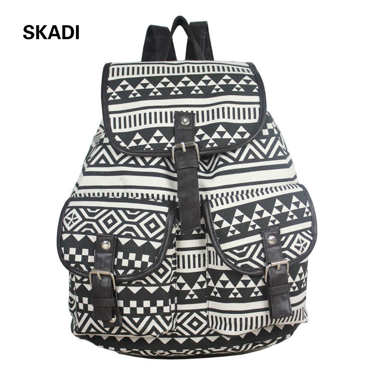 Women Backbags Canvas School Bag for Teenagers Fashion National Vintage Shoulder Bag Female Rucksack Ladies Travel Bag Femme