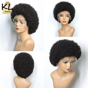 Image 4 - ピクシーカットアフロ変態カーリーレースのフロント人間毛ウィッグ黒人女性ブラジルのremy毛 6 ショートウィッグ事前摘み取ら 250% 13x4