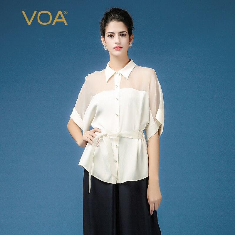 f7d4e7560e6 VOA Heavy Silk Blouse White Women Tops Office Bat Half Sleeve Plus Size 5XL  Loose Shirt Sexy Mesh Brief Casual Belt Summer B7536