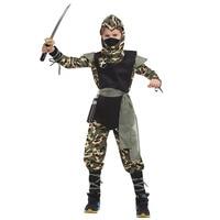 Deluxe Child SWAT Ninja Costume Camouflage Jumpsuit Cool Assassin Ninja Warrior Role Play Fancy Dress Kids