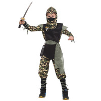 Deluxe Child SWAT Ninja Costume Camouflage Jumpsuit Cool Assassin Ninja Warrior Role Play Fancy Dress Kids