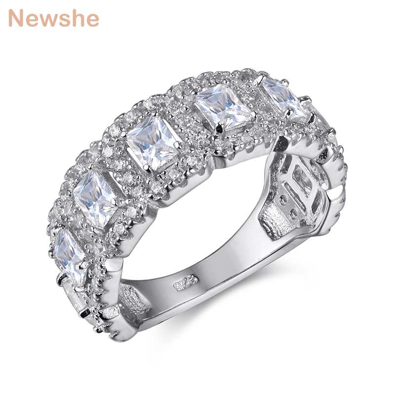 Newshe Solid 925 Sterling Silver Wedding Ring Engagement Band 2 Ct AAA CZ Eternity Classic Jewelry For Women JR4682Newshe Solid 925 Sterling Silver Wedding Ring Engagement Band 2 Ct AAA CZ Eternity Classic Jewelry For Women JR4682