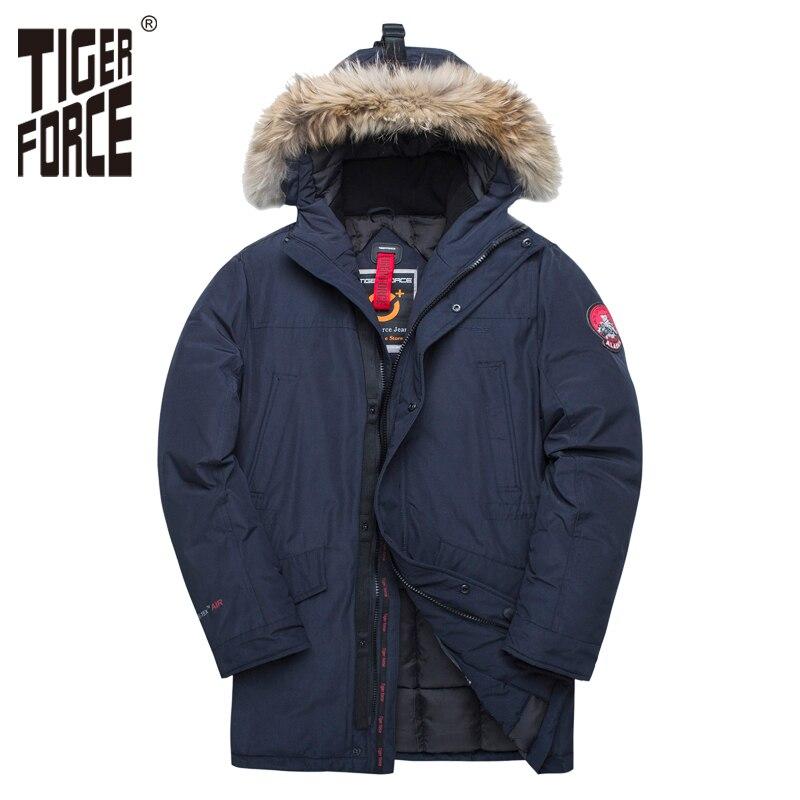 TIGER FORCE Jacket Men Winter Padded   Parka   Men Warm Coat Detachable Raccoon Fur Men's   Parkas   Thick Alaska Jackets Plus Size
