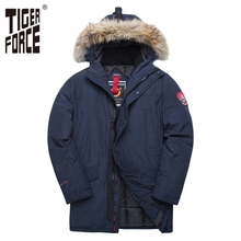 TIGER FORCE 2017 New Men Padded Parka Winter Polyester Coat Thick Parkas With Raccoon Fur Collar Fashion Coat Mens Free Shipping цена