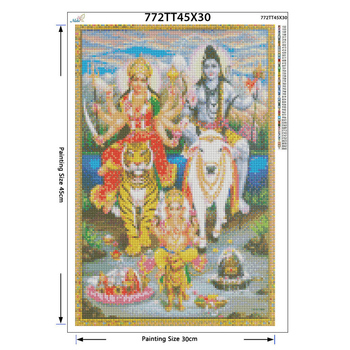 diy Diamond Embroidery Shiva Parvati Ganesha 5D Diamond Painting Cross Stitch 3D Diamond Decoration Christmas