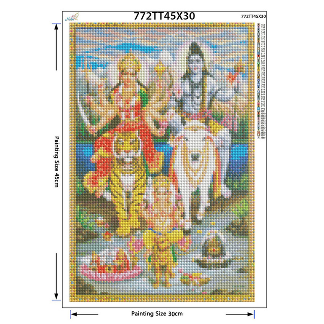 diy Diamond Embroidery Shiva Parvati Ganesha 5D Diamond Painting Cross Stitch 3D Diamond Decoration Christmas gifts