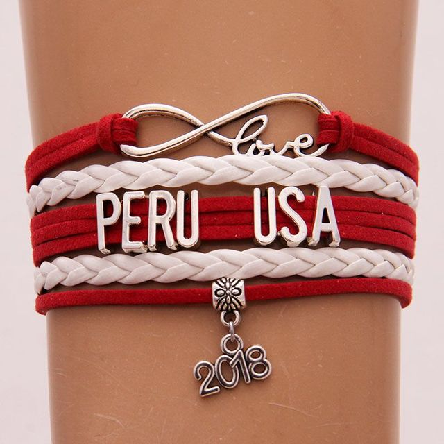 Infinity Love Peru Usa 2018 Charm Bracelet Bangles Pu Leather Wrap Rope Jewelry Christmas