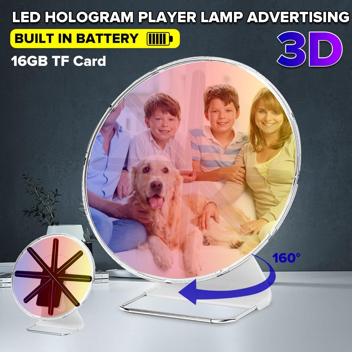 Projecteur holographique 3D Portable 30CM avec batterie lecteur hologramme LED affichage ventilateur publicité lumière APP contrôle