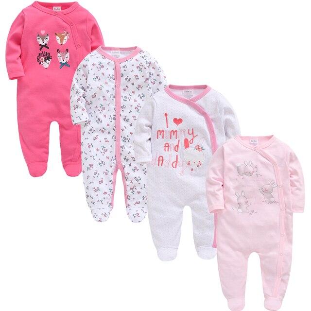 2019 3 4 pcs/lot Summer Baby Boy roupa de bebes Newborn Jumpsuit Long Sleeve Cotton Pajamas 0-12 Months Rompers Baby Clothes 5