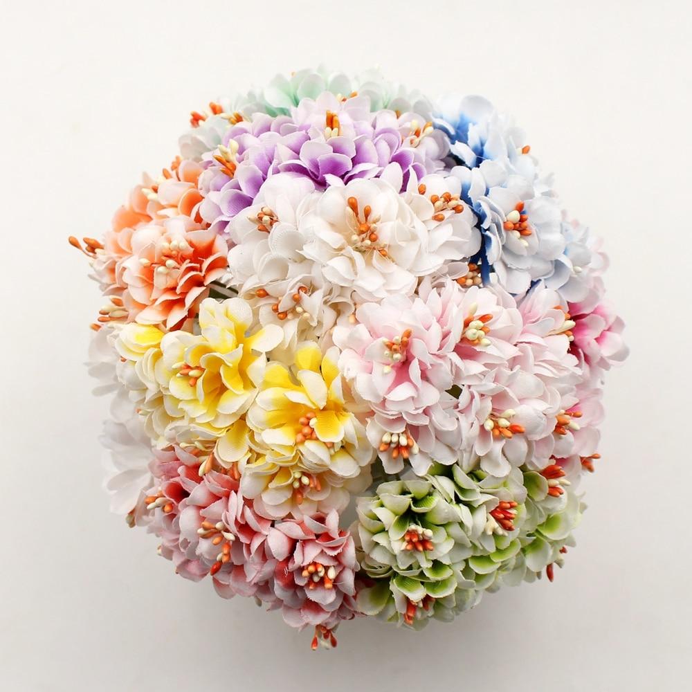 6pcs Artificial Flower Silk Gradient Stamen  Handmade Bouquet For Wedding Home Decoration DIY Scrapbooking Wreath Fake Flowers