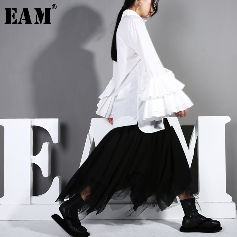 [EAM] 2020 New Spring Autumn Lapel Long Sleeve White Cuff Pleated Split Joint Loose Shirt Women Blouse Fashion Tide T162