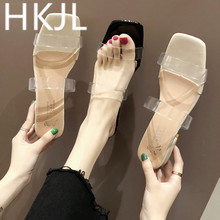 HKJL Fashion Transparent sandal summer 2019 all-in-one simple thick with sexy open toe word belt crystal shoes A303 стоимость