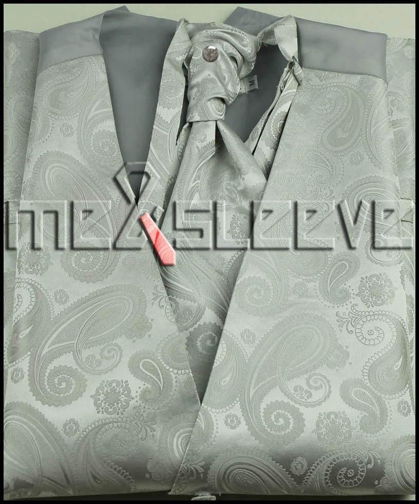 Wholesale Romantic wedding man s ivory paisley waistcoat 4pcs