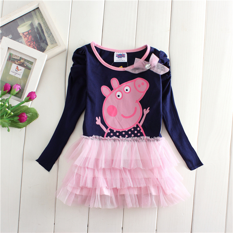 kids girl dress full sleeve cotton cartoon peppa comfortbale weekend causal children clothes fashion lovely baby dress 2-6yrs