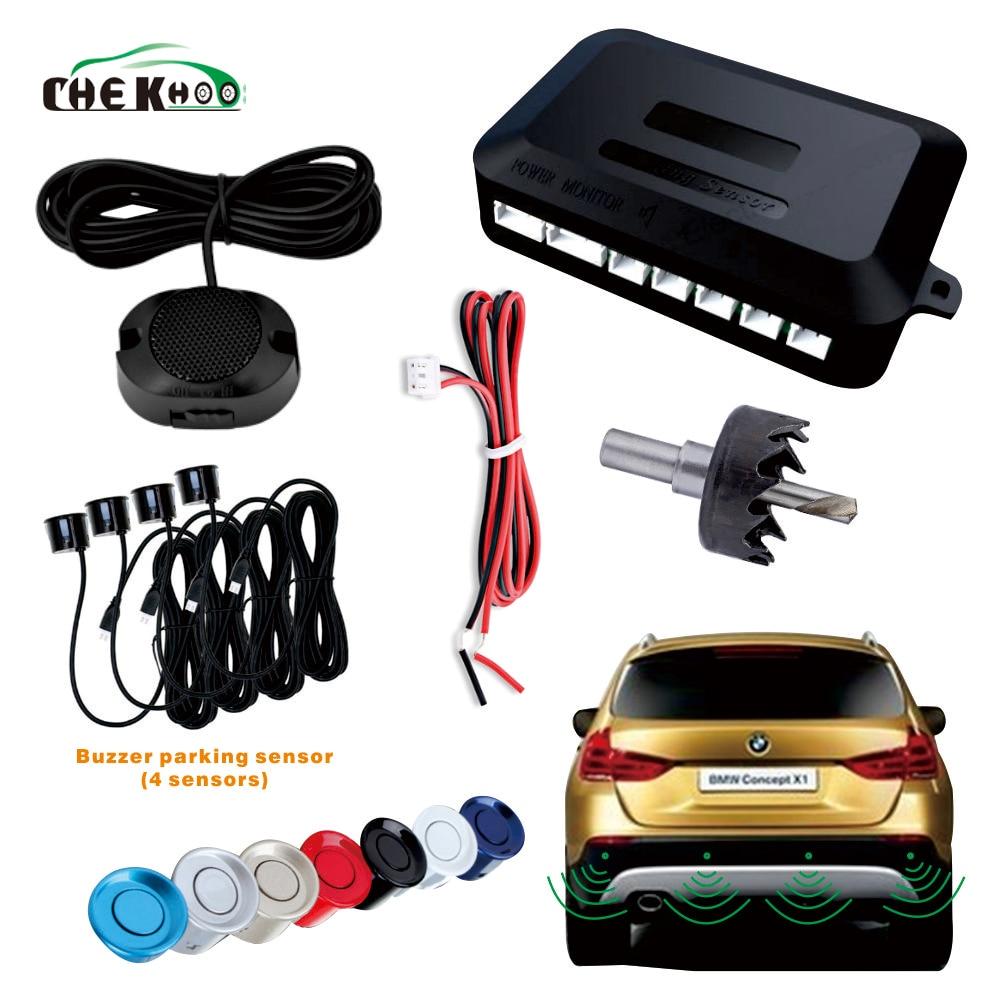 Car Auto Parktronic Buzzer Parking Sensor With 4 Sensor Reverse Backup Vehicle Radar Monitor Detector System