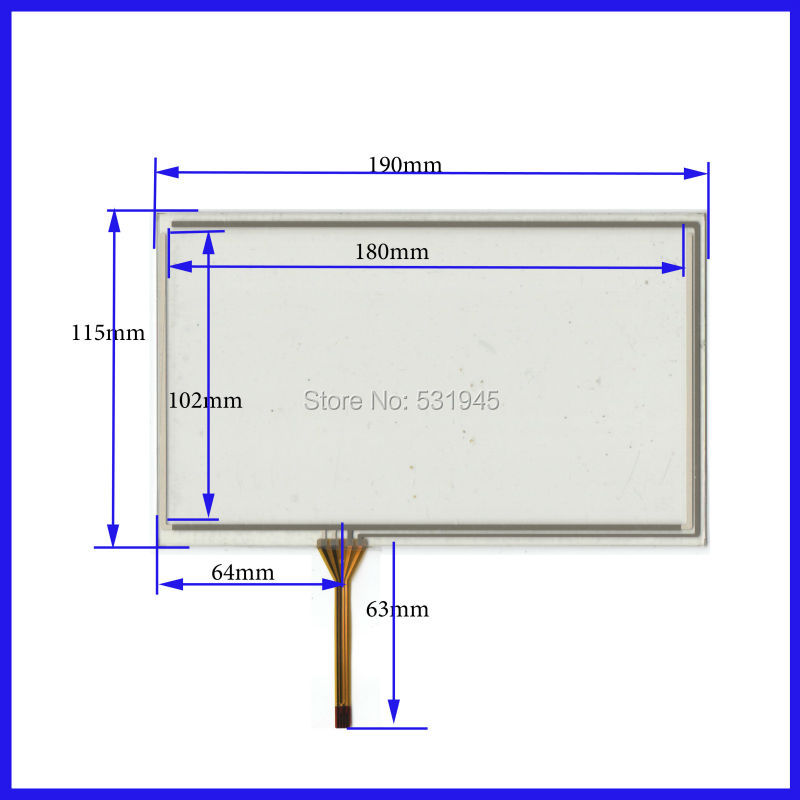 190*115 190mm* 115mm 8 inch Gps Touch Screen Digitizer Free shipping 4 line resistor Touch Screen handwritten General blackmores 190