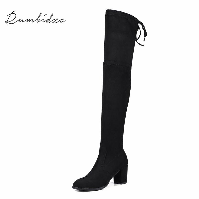 Rumbidzo 2018 Womens Fashion Boots 6cm Heel Over the Knee High Boots Slim Round Toe Stretch Chunky Heel Autumn Winter Boots