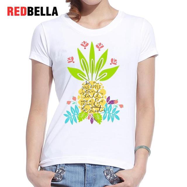 b7e2ae86c88b52 REDBELLA Tee Shirt Women Clothing 2017 Artsy Character Graphics Funny Floral  Pineapple T-shirt Femininas Cotton White Print Tees