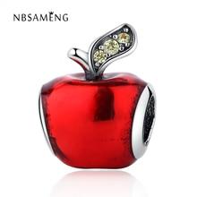 Auténtica plata de ley 925 encantos del grano rojo esmalte lindo de apple fruta diy crystal beads fit pandora pulseras y brazaletes de la joyería