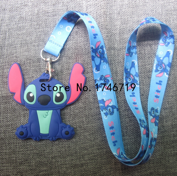 1pcs Stitch Lanyard Neck Strap  ID Card badge holder key Chains Card sets