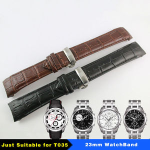 Image 1 - 23mm (אבזם 20mm) t035617A T035439 באיכות גבוהה כסף פרפר אבזם + חום שחור אמיתי עור מעוקל סוף רצועת השעון