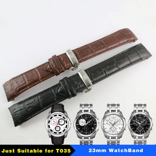 23mm (אבזם 20mm) t035617A T035439 באיכות גבוהה כסף פרפר אבזם + חום שחור אמיתי עור מעוקל סוף רצועת השעון