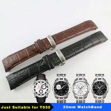 23mm (fivela de 20mm) t035617a t035439 alta qualidade prata borboleta fivela + marrom preto couro genuíno curvo final pulseira