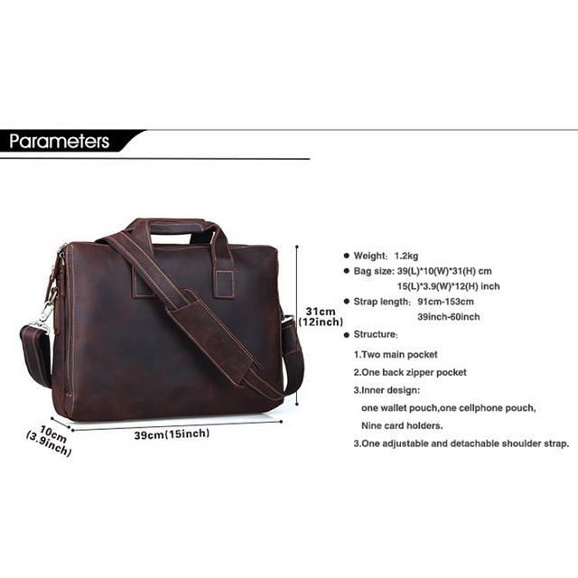82cc13b840 Tiding Buneness Crazy Horse Leather 14 Inch Laptop Briefcase Mens Handbag  Brown Vintage Simple Shoulder Satchel