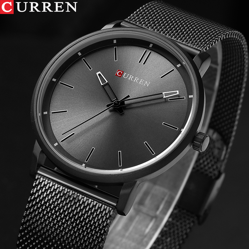 CURREN Top Luxury Brand Watches Men Stainless Steel Mesh Strap Quartz-watch Ultra Thin Dial Clock Man Relogio Masculino