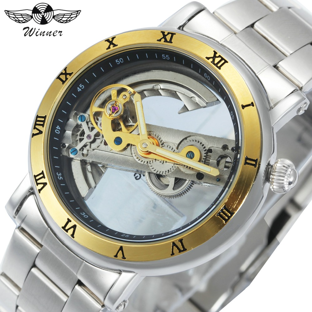 Men Retro Casual Mechanical Wrist Watch Silver Stainless Steel Band Male Automatic Clock Transparent Dial Minimalist Gold Bridge golden silver transparent hollow dial quartz men wrist watch stainless steel band casual sport watches man analog male clock gif page 9