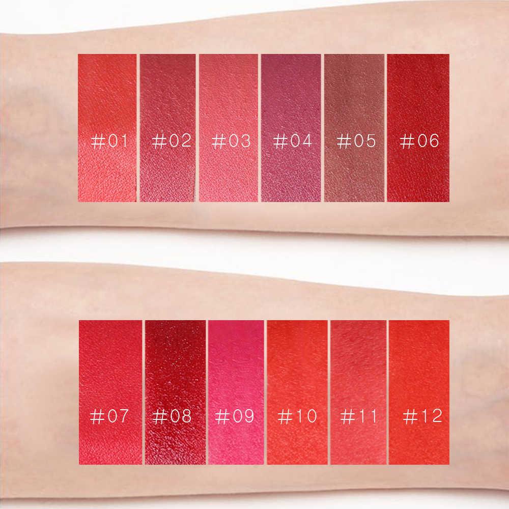 LULAA 12 colores pintalabios Mate maquillaje impermeable suave alto pigmento Batom Mate de larga duración Color rojo tinte de labios cosméticos las mujeres