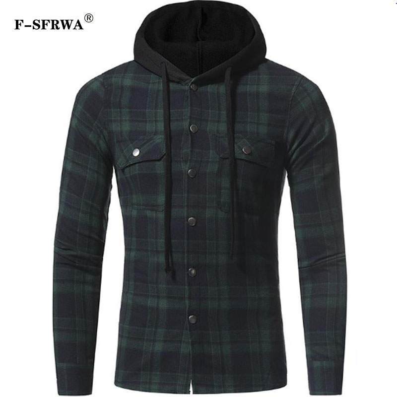 F-SFRWA Plaid Shirt 2019 Spring Shirts Men Casual Brand Clothing Men Shirt Long Sleeve Casual Lattice Hooded Camisa Social XXXL