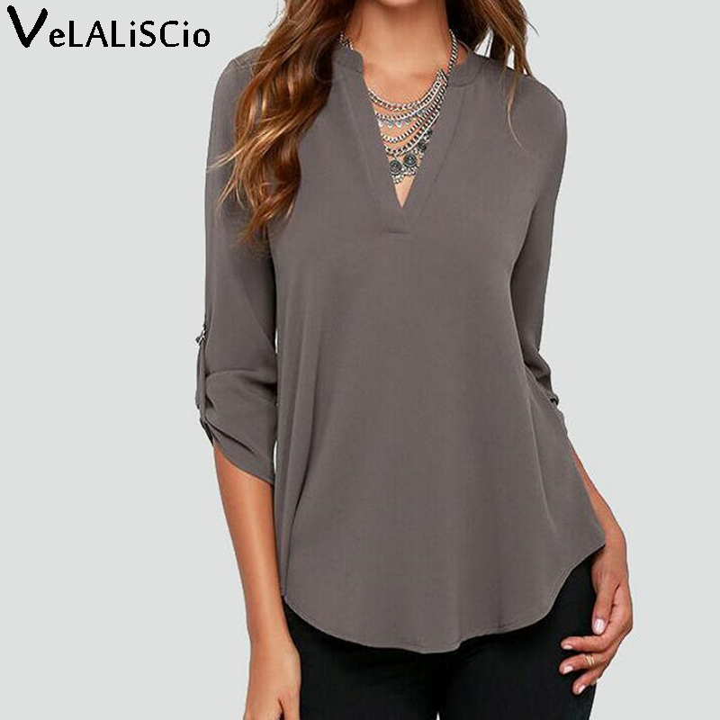 Women Blouses 2017 Top Sales Big Sizes Women Clothes V-Neck Long-Sleeved Blouse Wrinkled Sleeve Loose Casual Chiffon Shirts