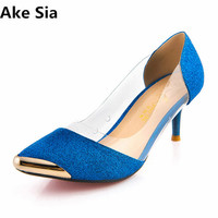 Ake Sia 2017Women Pumps Fashion Sexy Pointed Toe Sweet Colorful Thin High Heels Woman Shoes Nude