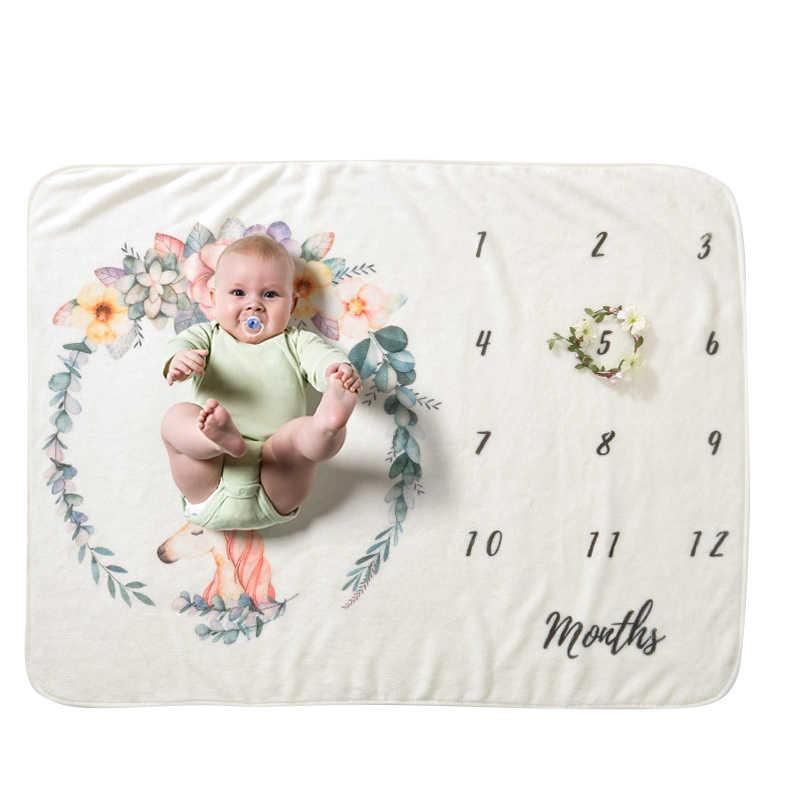 ベビーマイルストーン毛布幼児暖かい珊瑚フリースおくるみバスタオル素敵な新生児寝具 Photograp 小道具