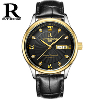 ONTHEEDGE Automatic Watch 316L Stainless Steel Men Genuine Leather Strap With Self Winding Mechanical Movt 4