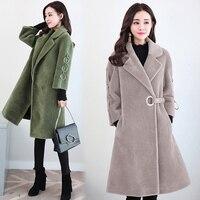 Maken lamswollen bontjas seizoen Vrouwelijke in lange schapen fluwelen jas Haining wol bont qiu dong