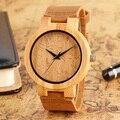 Nova Chegada Natureza Bambu Gato Padrão Dial Pulseira de Couro Genuíno Strap Mulheres Relógio De Pulso de Madeira Feitos À Mão Casual Relógios Femininos