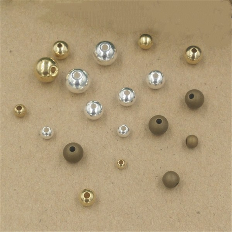 Helpful 50pcs 3/4/5/6/8mm Silver Gold Brass Spacer Beads Ball Loose Beads For Charms Bracelets Diy Jewelry Making Jewelry & Accessories Beads