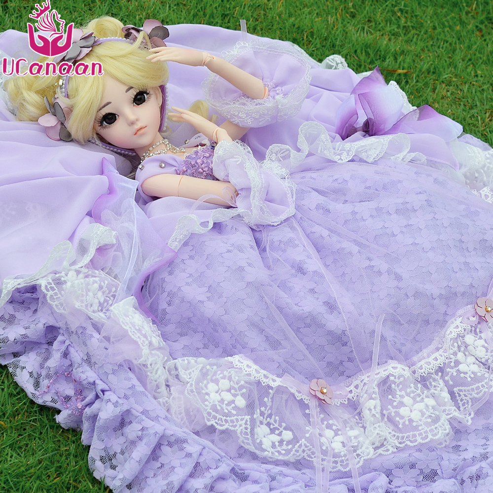 UCanaan 1/3 BJD Doll Girls SD Dolls High-end Handmade Purple Maxi Long Dress With Full Outfits High Quality Children Toys недорго, оригинальная цена
