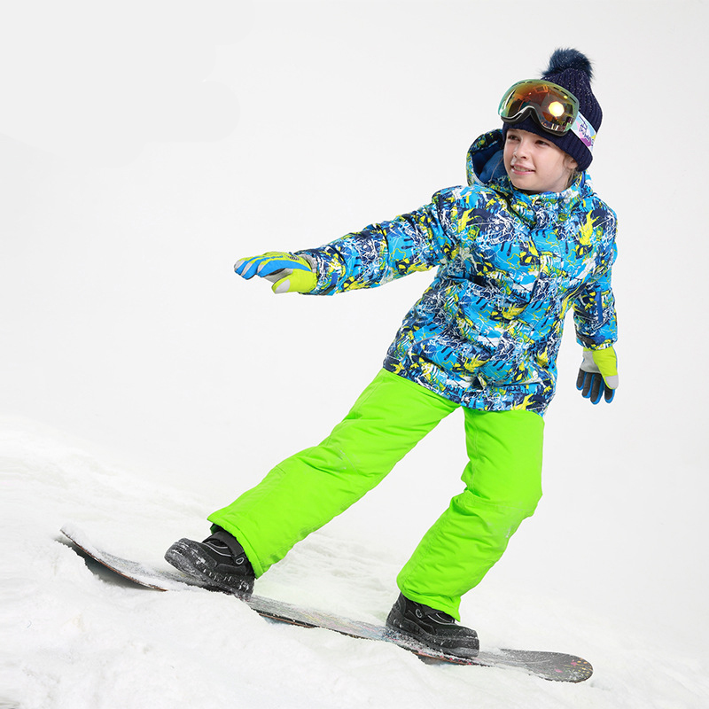 Russia Boys Ski Suit Thick warm jacket Children Waterproof Windproof Clothing Sport suit for Boys Ski Set Two suit 30# купить в Москве 2019